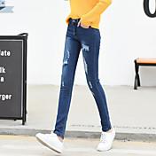 Signo de primavera nuevo pantalones vaqueros coreano alto agujero de cintura mujer estudiante era fino estiramiento lápiz pantalones