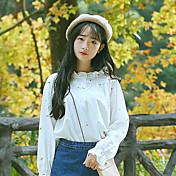 #6171モデルの星菌甘い綿の襟のシャツ刺繍の花の新鮮な緩い白いシャツの女性