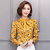 Signo 2017 primavera mujeres gasa blusa camisa de encaje de cuello de manga larga camisa de gasa de lucha contra la impresión de impresión
