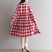 firmar vestido de 2017 del resorte nuevas de la línea literaria yardas grandes flojas a cuadros costura vestido de manga larga