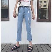 Mujer Sencillo Tiro Alto Microelástico Vaqueros Pantalones,Corte Recto Un Color