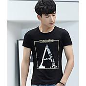 Hombre Simple Casual/Diario Camiseta,Escote Redondo Letra Manga Corta Algodón Fino
