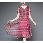 Dámské Vintage Čínské vzory Jdeme ven A Line Šaty Geometrický,Krátký rukáv Do V Délka ke kolenům Nad kolena Umělé hedvábí Jaro Mid Rise