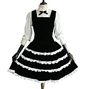 Una Sola Pieza/Vestidos Blusa / Falda Rococó Cosplay Vestido  de Lolita Un Color Manga Larga Hasta la Rodilla Blusa Vestido por Algodón