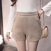 Mujer Chic de Calle Tiro Alto strenchy Chinos Shorts Pantalones,Perneras anchas Un Color
