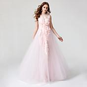 Salón Joya Hasta el Suelo Encaje Tul Evento Formal Vestido con Flor(es) Plisado por TS Couture®