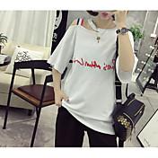 Mujer Chic de Calle Casual/Diario Camiseta,Escote Redondo Letra Manga Corta Algodón