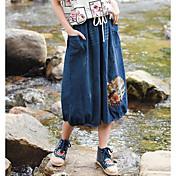 Mujer Tiro Alto Midi Faldas,Lápices Un Color