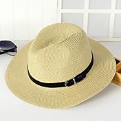ユニセックス 春 夏 秋 オールシーズン ヴィンテージ キュート パーティー オフィス カジュアル ストロー 純色 麦わら帽 日よけ帽
