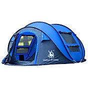 GAZELLE OUTDOORS 3-4人 テント シングル 自動テント 1つのルーム キャンプテント 2000-3000 mm ファイバーグラス オックスフォード 防水 防風 抗紫外線 折り畳み式-ハイキング キャンピング-