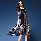 レディース ストリートファッション お出かけ ビーチ ルーズ ドレス,プリント ラウンドネック アシメントリー ハーフスリーブ シルク 春 夏 ミッドライズ 伸縮性なし 薄手