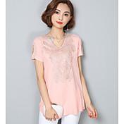 Mujer Bonito Noche Camiseta,Escote en Pico Un Color Manga Corta Algodón