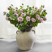 1 Ramo Seda Rosas Flor de Mesa Flores artificiais