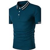 メンズ カジュアル/普段着 Polo,ストリートファッション シャツカラー ストライプ ポリエステル 半袖
