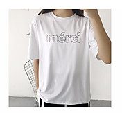Mujer Simple Casual/Diario Camiseta,Escote Redondo Bordado Letra Manga Corta Algodón