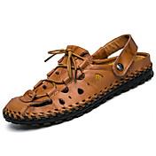 メンズ-カジュアル-レザー-フラットヒール-穴の靴-スリッパ&フリップ・フロップ-ブラック Brown カーキ色
