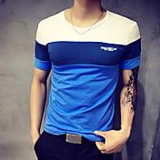 男性用 パッチワーク カジュアル / プラスサイズ Tシャツ,半袖 コットン,ブルー / オレンジ / グレー
