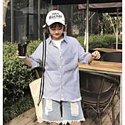 レディース カジュアル/普段着 シャツ,シンプル シャツカラー ストライプ レーヨン 七部袖