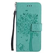 アップルのiPhone 7プラス7 puの革の猫と木のパターンの電話ケース6sプラス6 plus 6s 6 se 5s 5 5c 4s 4