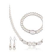 Juego de Joyas Pendientes / pulsera Collar con perlas Moda Euramerican Perla Brillante Legierung Forma Redonda1 Collar 1 Par de