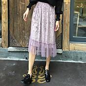 Mujer Tiro Alto Midi Faldas,Línea A Un Color