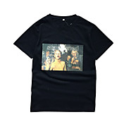 Hombre Simple Casual/Diario Verano Camiseta,Escote Redondo Estampado Manga Corta Algodón Fino