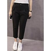 Mujer Sencillo Tiro Medio Inelástica Chinos Pantalones,Delgado Un Color