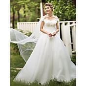 Salón Hasta el Suelo Encaje Tul Vestido de novia con Cristal Cuentas Apliques Flor por HUA XI REN JIAO