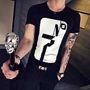 メンズ カジュアル/普段着 スポーツ 夏 Tシャツ,シンプル 活発的 ラウンドネック プリント コットン 半袖 薄手