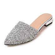 Dámské Pantofle a Žabky Sandály S páskem Syntetika Léto Podzim Šaty Běžné Flitry Nízký podpatek Bílá Stříbrná Méně než 2.5 cm