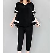 Mujer Primavera Verano T-Shirt Pantalón Trajes,Escote en Pico Manga Corta Microelástico