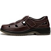 Muške Sandale Koža Ljeto Hodanje Mat selotejp Ravna potpetica Crn Braon Do 2.5 cm