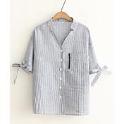 レディース カジュアル/普段着 春 夏 シャツ,シンプル Vネック ストライプ コットン 半袖 薄手
