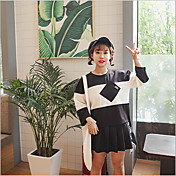 Mujer Simple Casual/Diario Camiseta,Escote Redondo Un Color Manga Larga Algodón