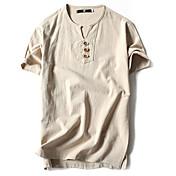 Hombre Vintage Simple Casual/Diario Deportes Tallas Grandes Primavera Verano Camiseta,Escote Redondo Un Color Manga Corta Algodón Lino