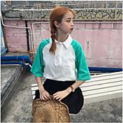 Mujer Simple Casual/Diario Camiseta,Cuello Camisero Bloques Manga Corta Algodón
