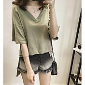 Mujer Simple Casual/Diario Camiseta,Escote en Pico Un Color 1/2 Manga Algodón
