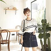 Mujer Simple Casual/Diario Camiseta,Escote Redondo Bloques 1/2 Manga Algodón