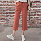 Dámské Retro Mikro elastické Kalhoty chinos Kalhoty Široké nohavice High Rise Jednobarevné