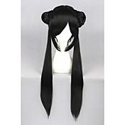 Mujer Pelucas sintéticas Sin Tapa Largo Liso Negro Parte lateral Con flequillo Con coleta Peluca de cosplay Las pelucas del traje