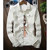 メンズ カジュアル/普段着 秋 デニムジャケット,シンプル シャツカラー ソリッド レギュラー 長袖