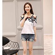 Mujer Simple Casual/Diario Verano Camiseta,Escote Barco Floral Manga Corta Algodón