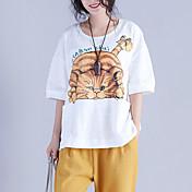 レディース カジュアル/普段着 Tシャツ,シンプル ラウンドネック ソリッド アニマルプリント コットン 半袖 スモーキー