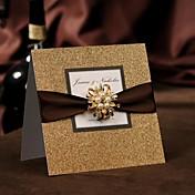 Doblado Superior Invitaciones De Boda 50-Tarjetas de invitación Estilo moderno Papel de Perla Lazo de Cinta