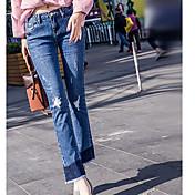 Mujer Tiro Medio Vaqueros Pantalones,Corte Recto Un Color