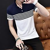 メンズ カジュアル/普段着 夏 Tシャツ,シンプル シャツカラー カラーブロック コットン 半袖 スモーキー