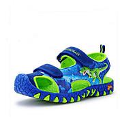 男の子 サンダル カジュアル ルミナス靴 レザー 夏 カジュアル アニマルプリント フラットヒール ブルー フラット