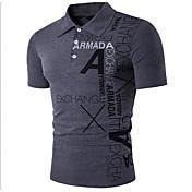 メンズ オフィス/キャリア Tシャツ,シンプル シャツカラー プリント レタード コットン 半袖