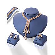 女性用 ジュエリーセット ラインストーン ファッション 欧米の コスチュームジュエリー 合金 1×ネックレス 1×イヤリング(ペア) 1×ブレスレット 1×リング 用途 結婚式 ウェディングギフト