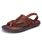 Hombre Zapatillas y flip-flop Anillo Frontal Semicuero Primavera Verano Informal Marrón Azul Caqui Plano